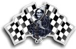 DEATH The Grim Reaper Design With Pair of Chequred Racing  Flag s Motif  Vinyl Car Sticker 130x80mm